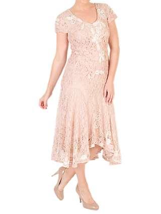 Chesca Ombre Cornelli Lace Dress, Blush/Ivory