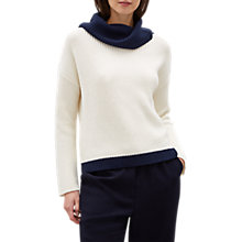 Buy Jaeger Colour Block Jumper, Navy/Cream Online at johnlewis.com