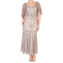 Buy Chesca Cape Trim Beaded Mesh Dress, Grey Online at johnlewis.com