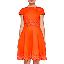 Buy Ted Baker Rehanna Embroidered Skater Dress, Orange Online at johnlewis.com