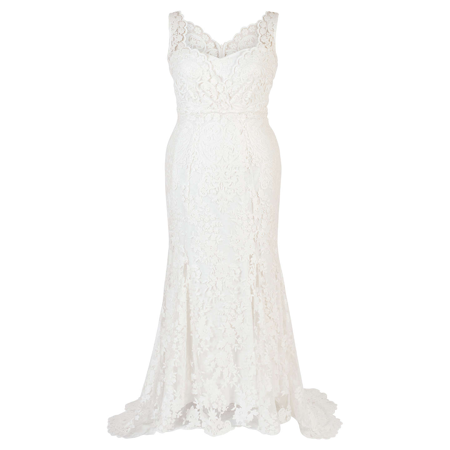 BuyChesca Scallop Lace Wedding Dress, Ivory, 12 Online at johnlewis.com