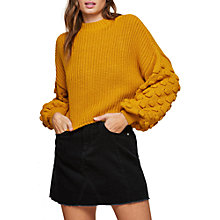 Buy Miss Selfridge Bobble Sleeve Jumper, Ochre Online at johnlewis.com