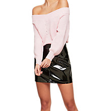 Buy Miss Selfridge Bardot Volume Sleeve Jumper, Pink Online at johnlewis.com
