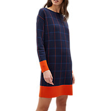 Buy Jaeger Merino Check Knitted Dress, Navy/Check Online at johnlewis.com
