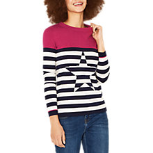 Buy Oasis Breton Stripe Star Jumper, Navy Online at johnlewis.com