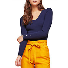 Buy Miss Selfridge V-Neck Popper Cuff Top, Navy Online at johnlewis.com
