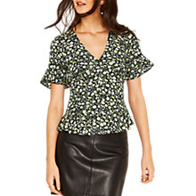 Buy Oasis Ditsy Ruched Front Frill Top, Multi Online at johnlewis.com