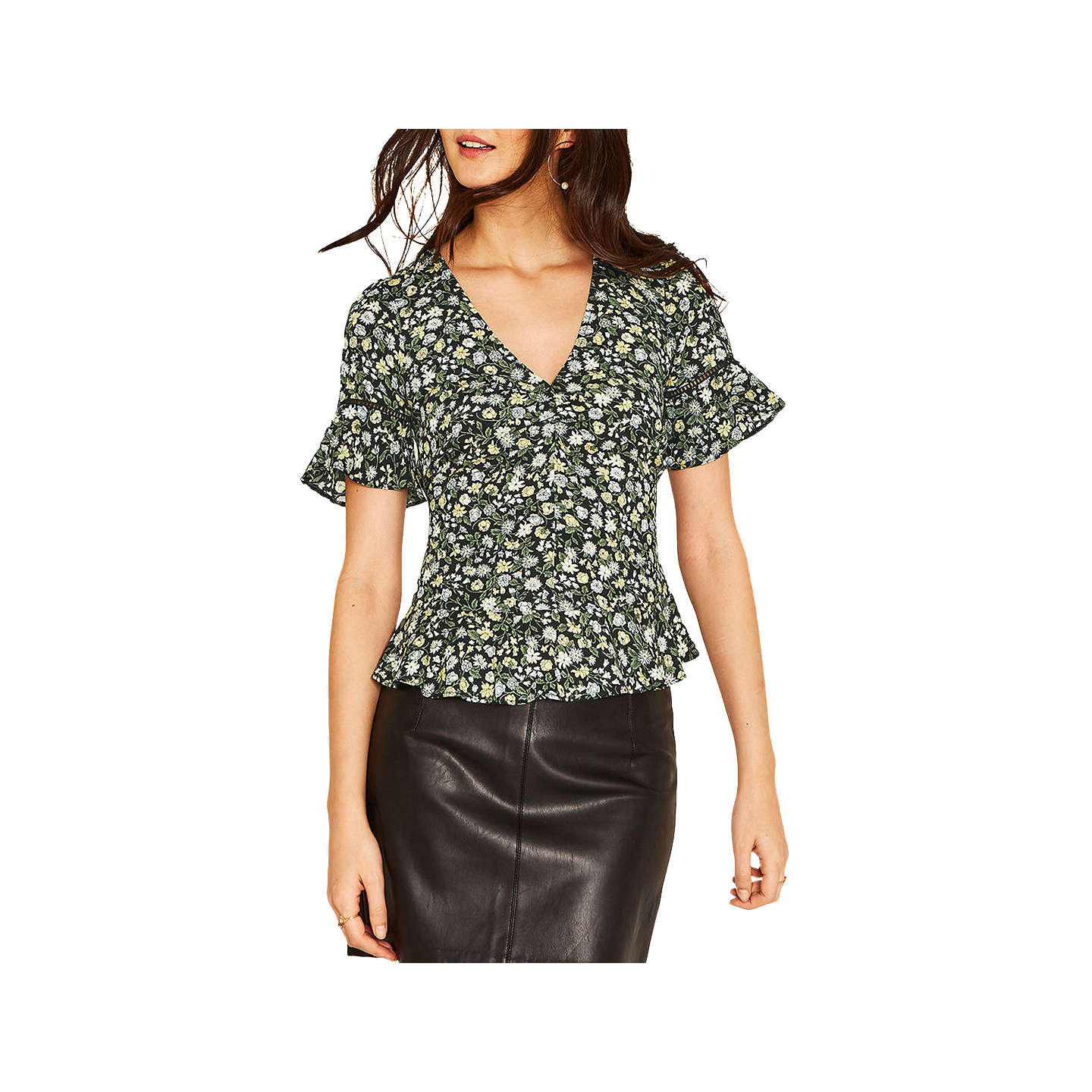 BuyOasis Ditsy Ruched Front Frill Top, Multi, 6 Online at johnlewis.com