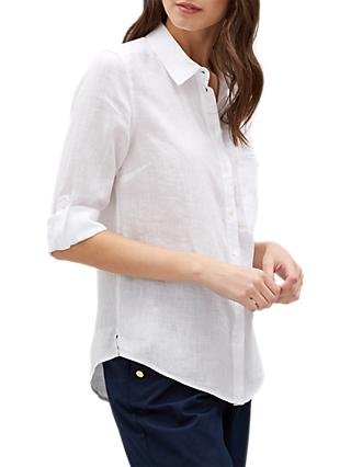 Jaeger Roll Sleeve Linen Shirt, White