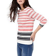 Buy Joules Harbour Stripe 3/4 Sleeve Jersey Top, Pink Navy Stripe Online at johnlewis.com