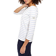 Buy Joules Harbour 3/4 Sleeve Printed Jersey Top, White/Blue Online at johnlewis.com