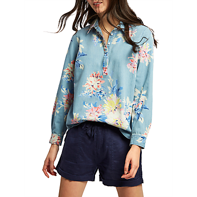 Joules Floral Print Chambray Shirt, Multi