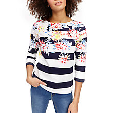Buy Joules Harbour 3/4 Sleeve Printed Jersey Top, Navy/White Online at johnlewis.com