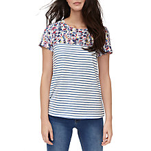 Buy Joules Suzy Jersey Woven Mix T-Shirt, Cream Garden Ditsy Online at johnlewis.com