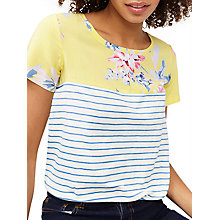 Buy Joules Short Sleeve Floral Stripe Jersey Top, Lemon/White Online at johnlewis.com