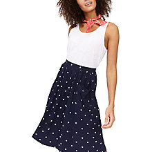 Buy Joules Spot Print Midi Skirt, Navy/White Online at johnlewis.com