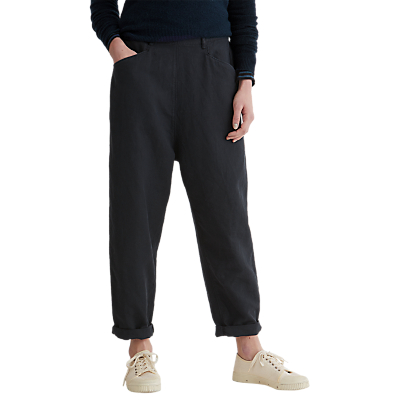Toast Alix Cotton Linen Twill Trousers, Anthracite Blue