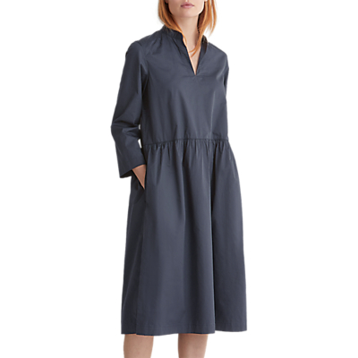 Toast Poplin Gathered Waist Dress, Storm Blue