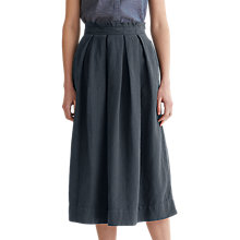 Buy Toast Cotton Linen Boxpleat Skirt, Anthracite Blue Online at johnlewis.com