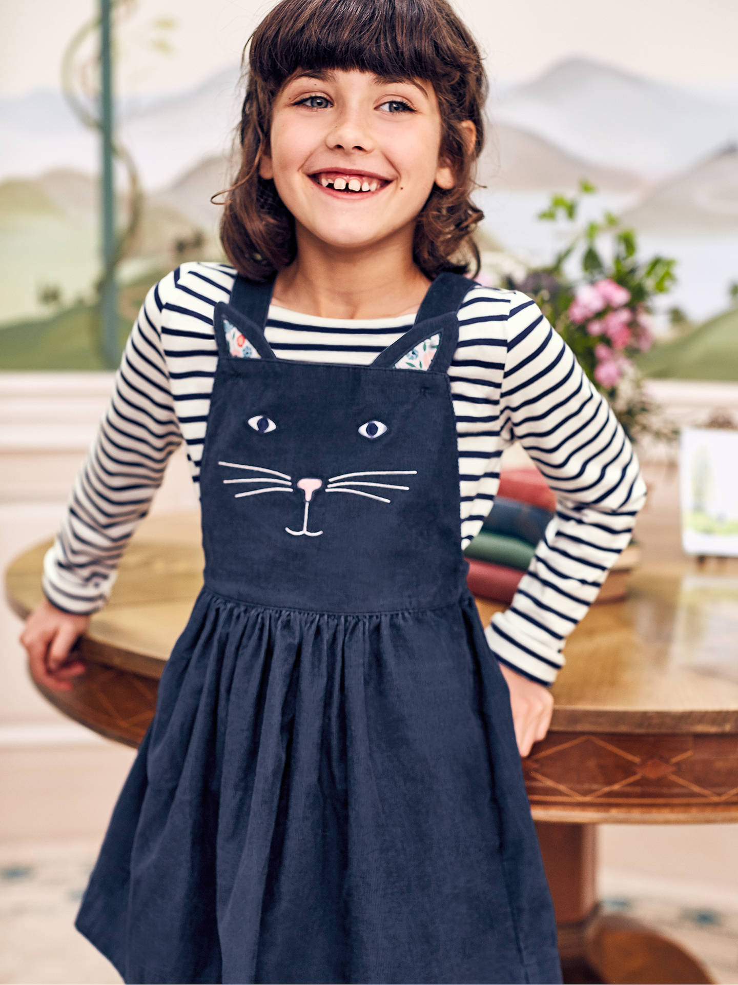 9e86c7bf6d358 ... Buy Mini Boden Girls' Cat Dungaree Dress, Blue, 2 years Online at  johnlewis ...