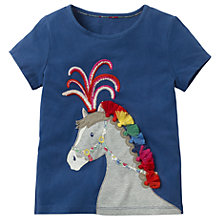 Buy Mini Boden Girls' Animal Talent Horse Applique T-Shirt, Blue Online at johnlewis.com