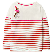 Buy Mini Boden Girls' Jolly Fun Breton T-Shirt, Red Online at johnlewis.com