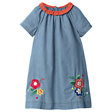 Buy Mini Boden Girls' Floral Embroidered Denim Dress, Blue Online at johnlewis.com