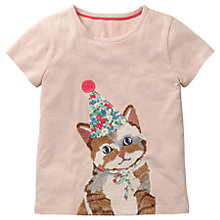 Buy Mini Boden Girls' Super Stitch Cat T-Shirt, Pink Online at johnlewis.com