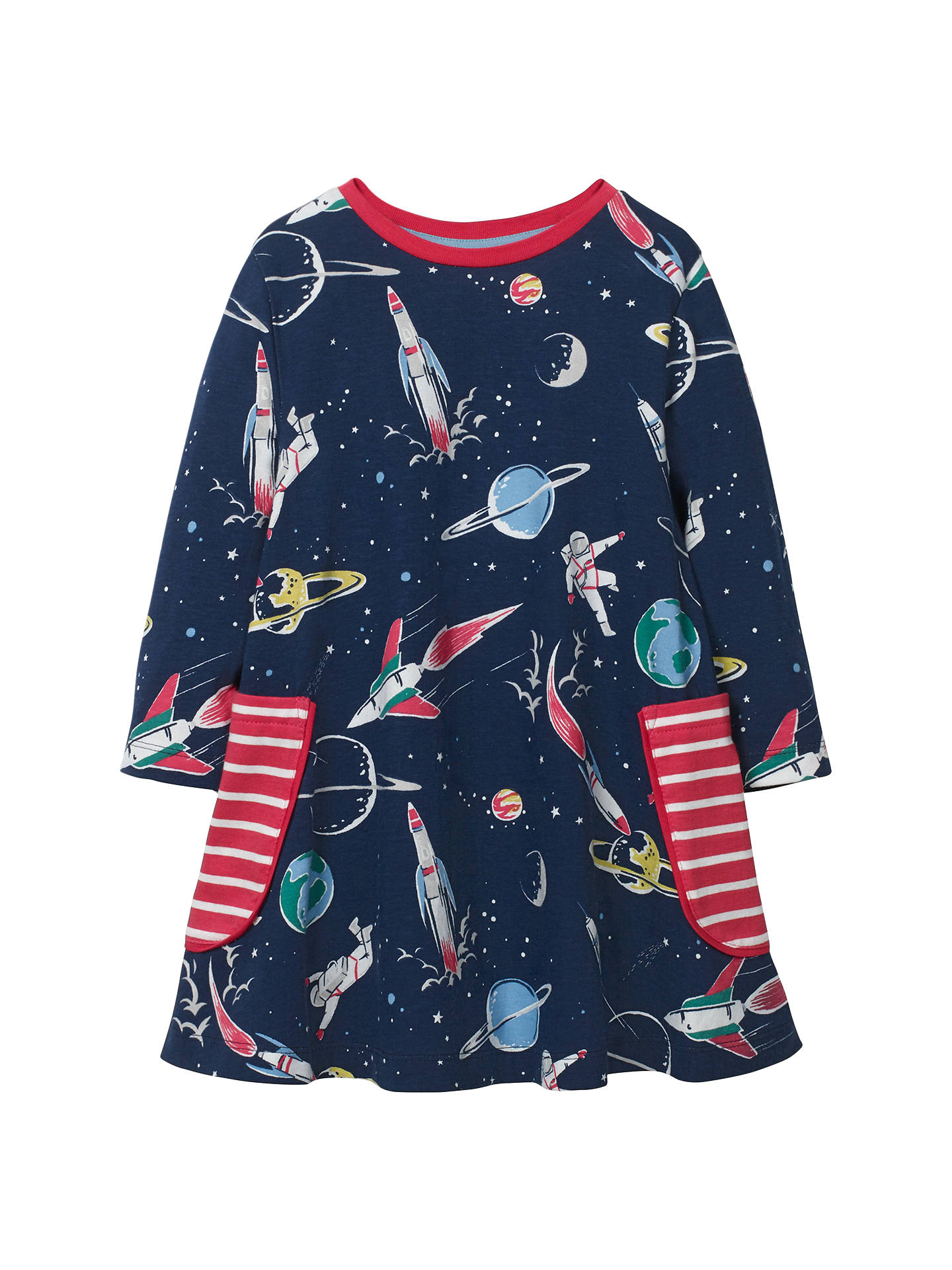 Mini Boden Girls Space Printed Tunic Dress Navy At John Lewis Tendencies Caps Pop Buymini 2 3 Years Online