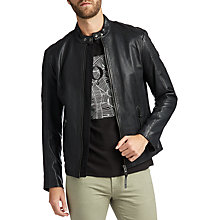 Buy BOSS Jeepo Slim Fit Leather Jacket, Black Online at johnlewis.com