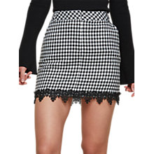Buy Miss Selfridge Dogtooth Lace Pelmet Skirt, Black Online at johnlewis.com