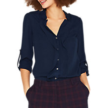 Buy Oasis Frill Front Shirt, Dark Blue Online at johnlewis.com
