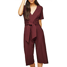 Buy Miss Selfridge Petite Short Sleeve Jumpsuit, Burgundy Online at johnlewis.com