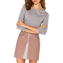 Buy Oasis Pearl Bow Knit Jumper, Mid Grey Online at johnlewis.com