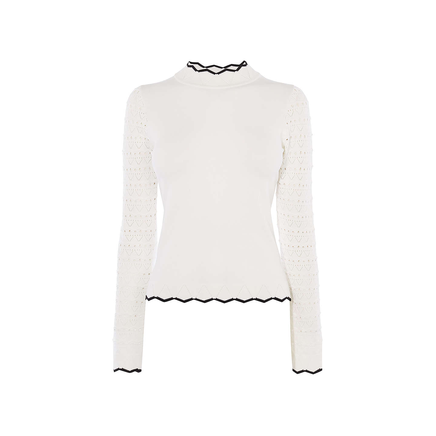 BuyKaren Millen Fitted Knit Jumper, Ivory, XS Online at johnlewis.com