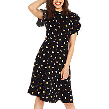 Buy Oasis Frill Sleeve Daisy Print Tea Dress, Black/Multi Online at johnlewis.com