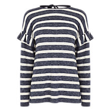 Buy Oasis Stripe Frill Drop Sleeve Top, Multi Online at johnlewis.com