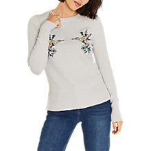 Buy Oasis Illustrator Embroidered Kissing Birds Knit Jumper, Mid Grey Online at johnlewis.com