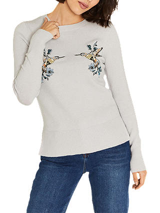 Oasis Illustrator Embroidered Kissing Birds Knit Jumper, Mid