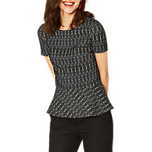 Buy Oasis Geometric Peplum Top, Black/Multi Online at johnlewis.com