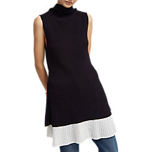 Buy French Connection High Neck Sleeveless Jumper Dress, Utility Blue/Summer White Online at johnlewis.com