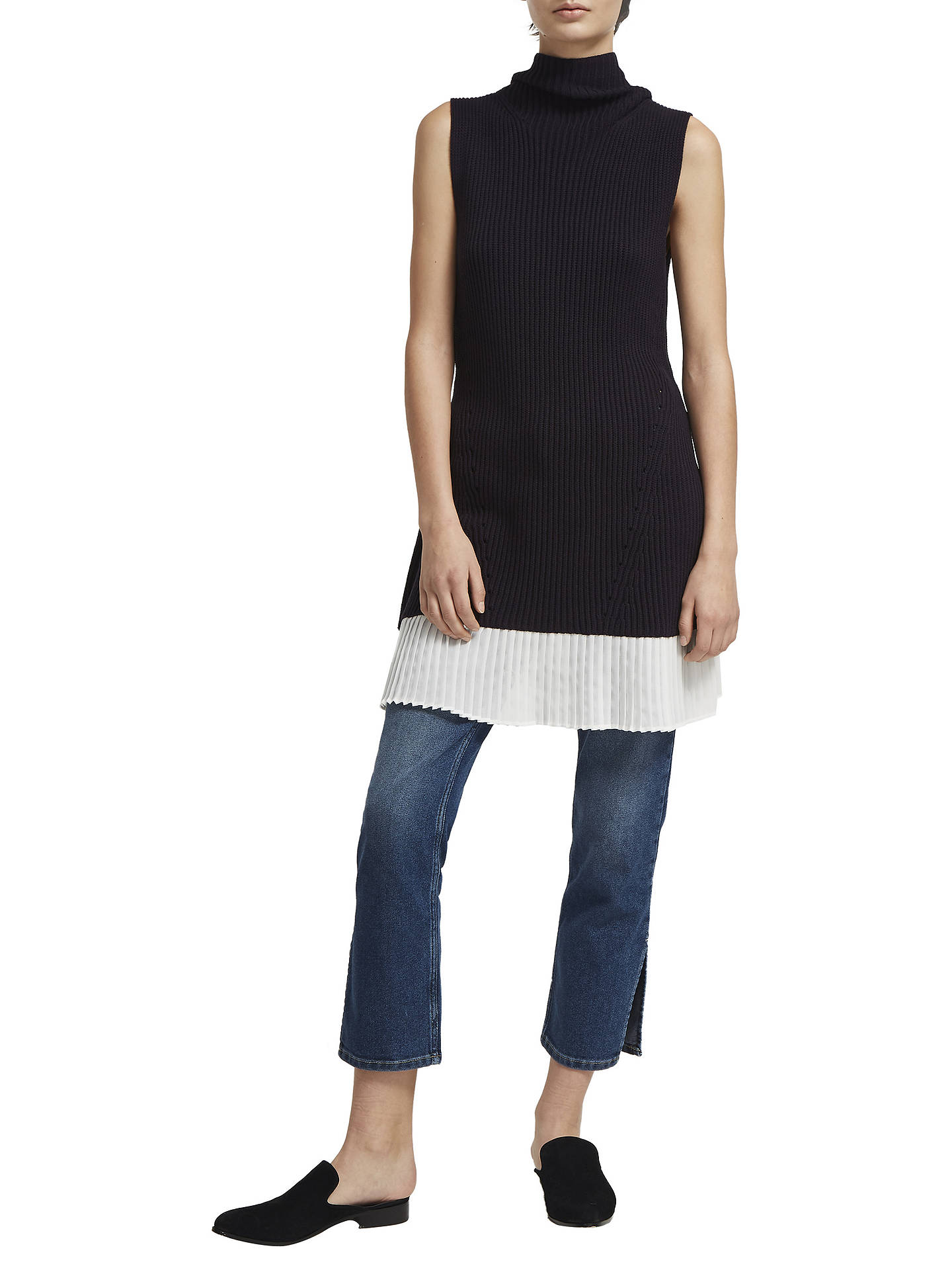 BuyFrench Connection High Neck Sleeveless Jumper Dress, Utility Blue/Summer White, XS Online at johnlewis.com