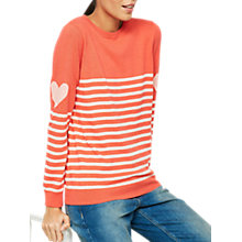 Buy Mint Velvet Stripe and Heart Motif Jumper, Red Online at johnlewis.com