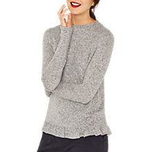 Buy Oasis Ruffle Wrap Back Cosy Top, Pale Grey Online at johnlewis.com
