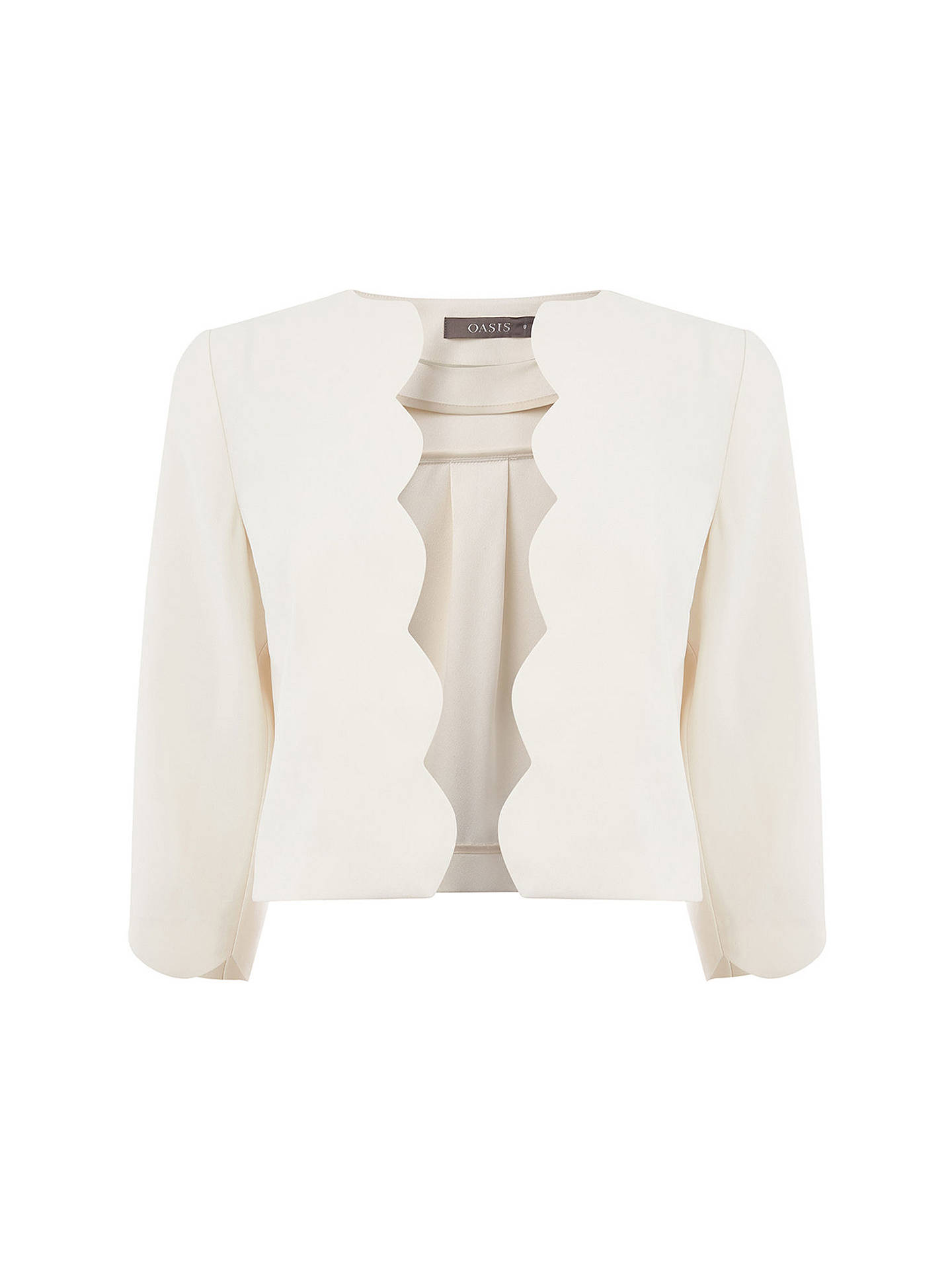 ac9b6fd54779 Buy Oasis Scallop Edge To Edge Jacket, Off White, 6 Online at johnlewis.