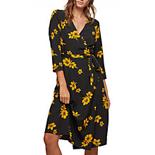 Buy Miss Selfridge Floral Wrap Midi Dress, Black/Ochre Online at johnlewis.com