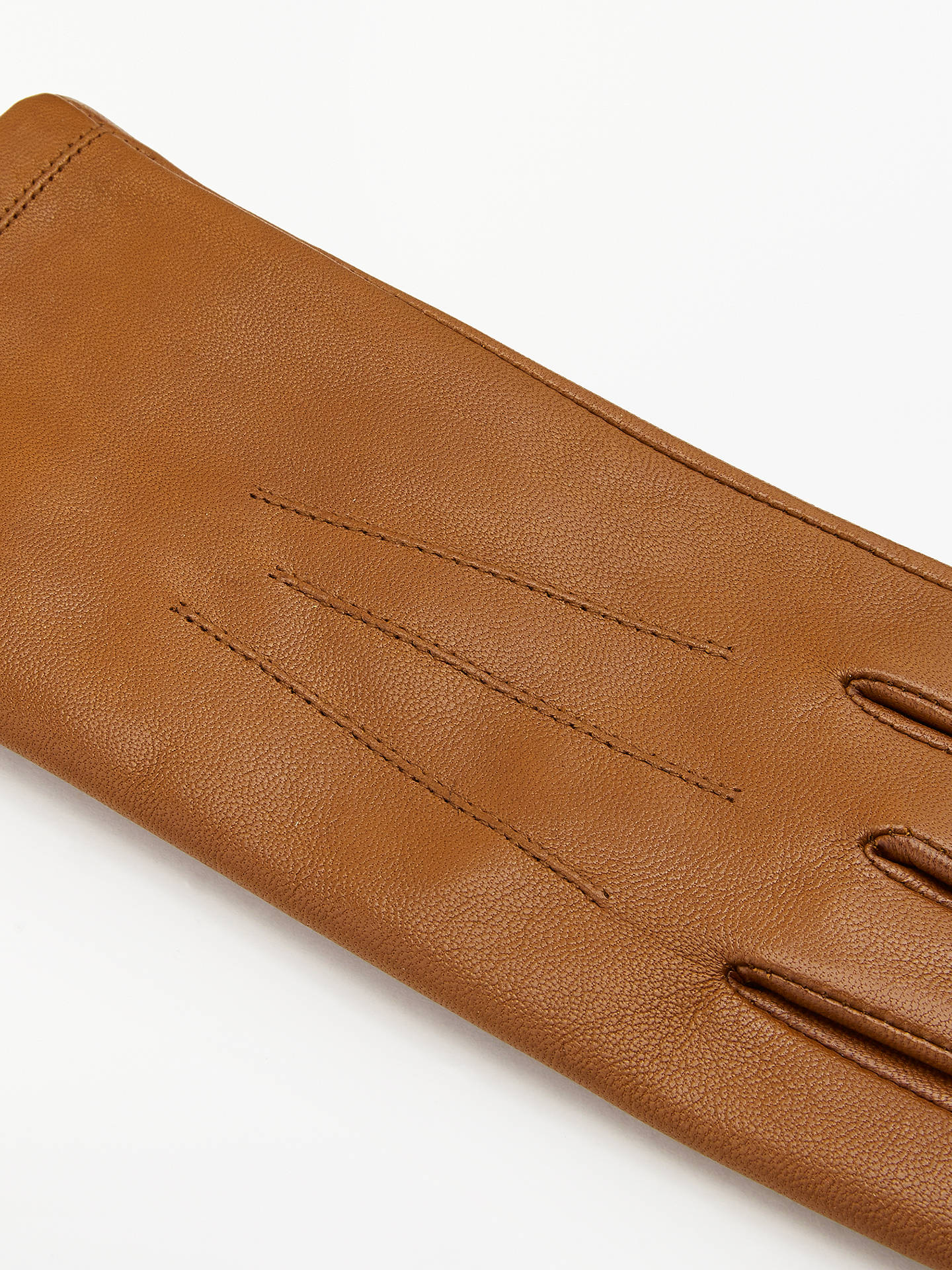 BuyJohn Lewis & Partners Leather Fleece Lined Gloves, Tan, S Online at johnlewis.com