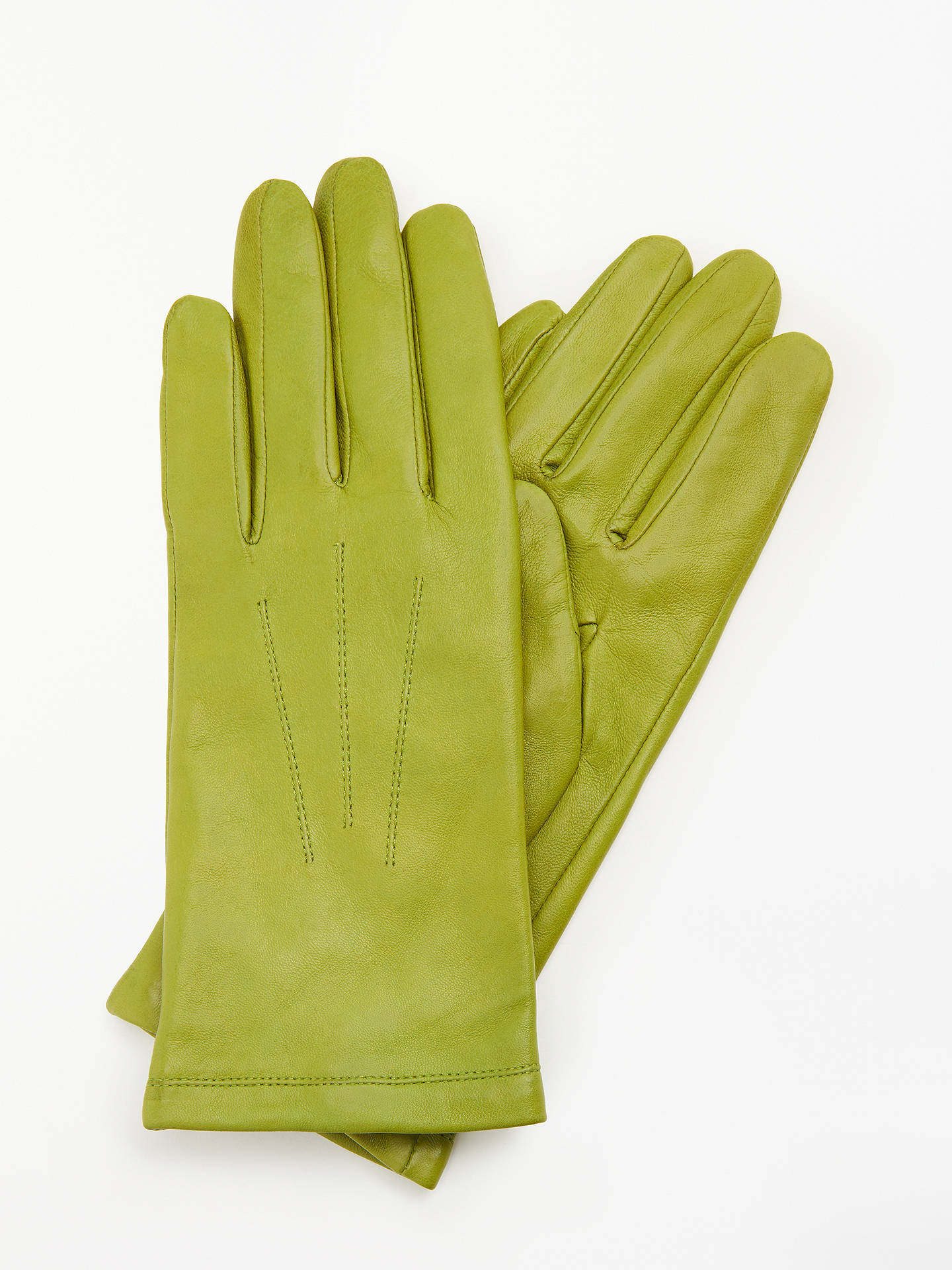 BuyJohn Lewis & Partners Leather Fleece Lined Gloves, Lime, S Online at johnlewis.com