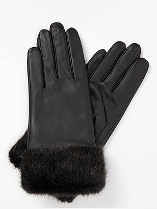 Buy John Lewis & Partners Fur Trimmed Lambskin Gloves, Black, S Online at johnlewis.com