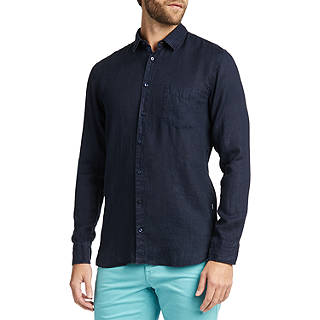 BOSS Cattitude Slim Fit Long Sleeve Shirt, Dark Blue